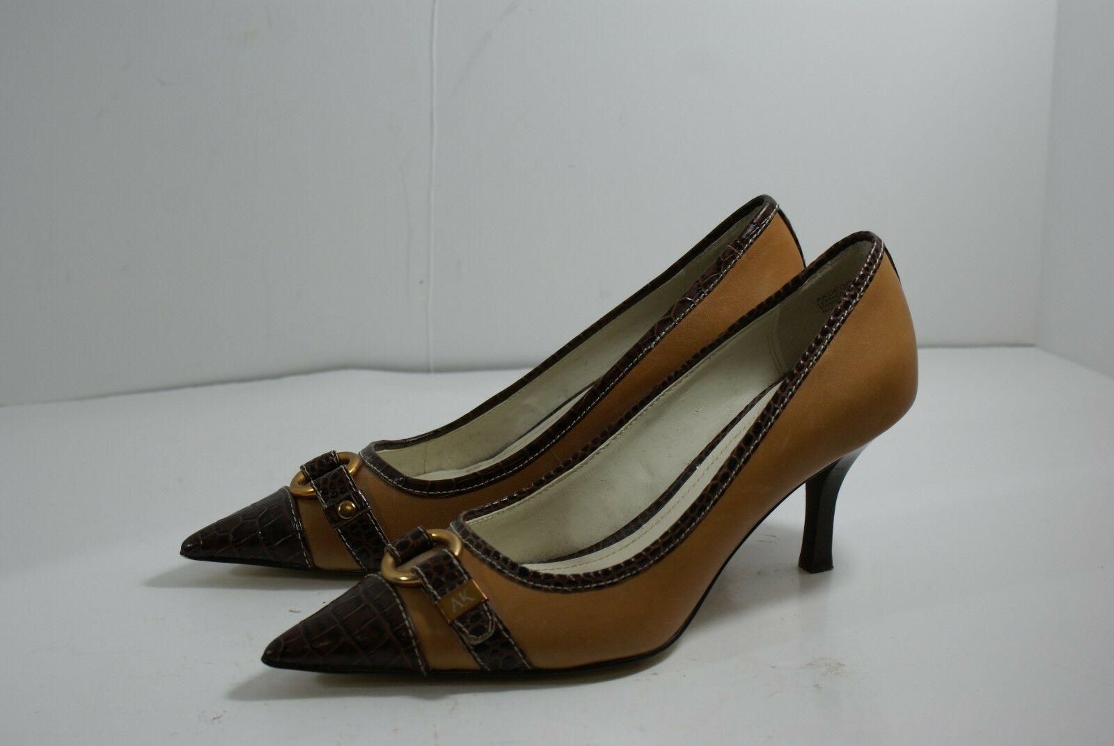 AK Anne Klein Deggas Brown Leather Pointed Cap Shoes Toe Pumps 3