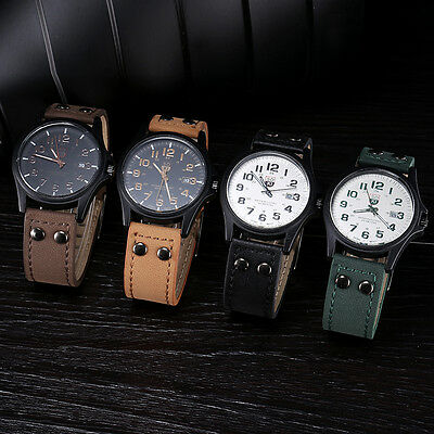"New Vintage Men""s Leather Strap Watch Sport Quartz Waterproof Date WristWatch"