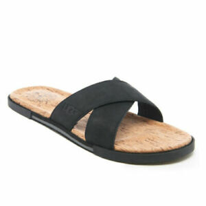 0e03c2ab0cc Details about Ugg Double Strap Leather Slide Sandals - Black Model Ithan  Cork £37.99