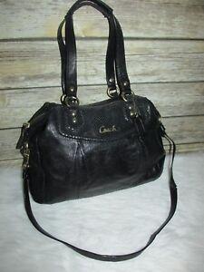 a6e4789465028 Details about COACH Ashley Black Leather Python Trim Purse Shoulder Bag  Satchel Tote F20104