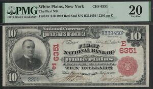 FR. 613 1902 RS $10 CH #6351 NATIONAL BANK NOTE WHITE PLAINS, NEW YORK PMG 20 VF