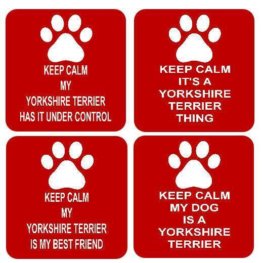 Keep Calm Dog Yorkshire Terrier Square Drinks Coaster 4 Different Designs