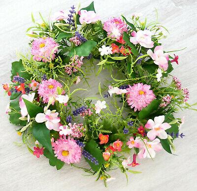 Türkranz Frühling Bellis rosa pink Sommerkranz Wandkranz Tischkranz Hochzeit