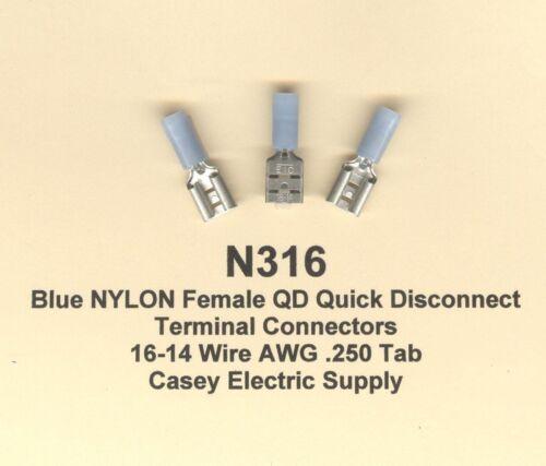 25 Blue NYLON Female QD Quick Disconnect Terminals 16-14 Wire AWG .250 Tab MOLEX