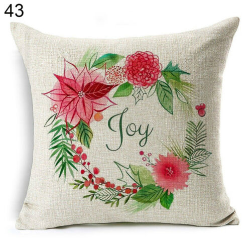 Christmas Dog Linen Cushion Cover Throw Pillow Case Sofa Bed Home Decor Healthy