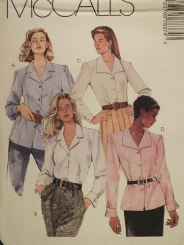 Lovely OOP McCALLS 7837 Misses Blouse in 4 Versions PATTERN 8-10-12-14-16-18 UC
