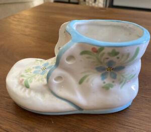 Vintage-Pottery-Ceramic-Baby-Shoe-Bootie-Planter-for-floral-arrangement-Blue