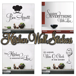 Kitchen Wall Stickers 4 Designs To Choose From Wall Art 4 Sizes Ebay