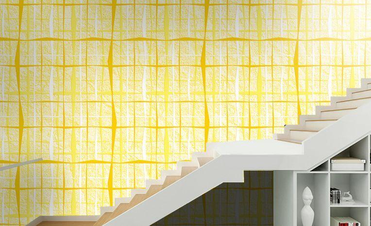 3D Plaid Gelb Parete Murale Carta da parati immagine sfondo muro stampa