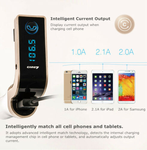 Bluetooth Handsfree Car MP3 FM Transmitter for LG G4 V10 Nexus 6P 6 5X HTC One