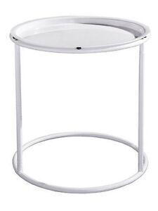 Beistelltisch-mit-abnehmbarem-Tablett-Weiss-46-cm-Nachttisch-Tisch-Metall