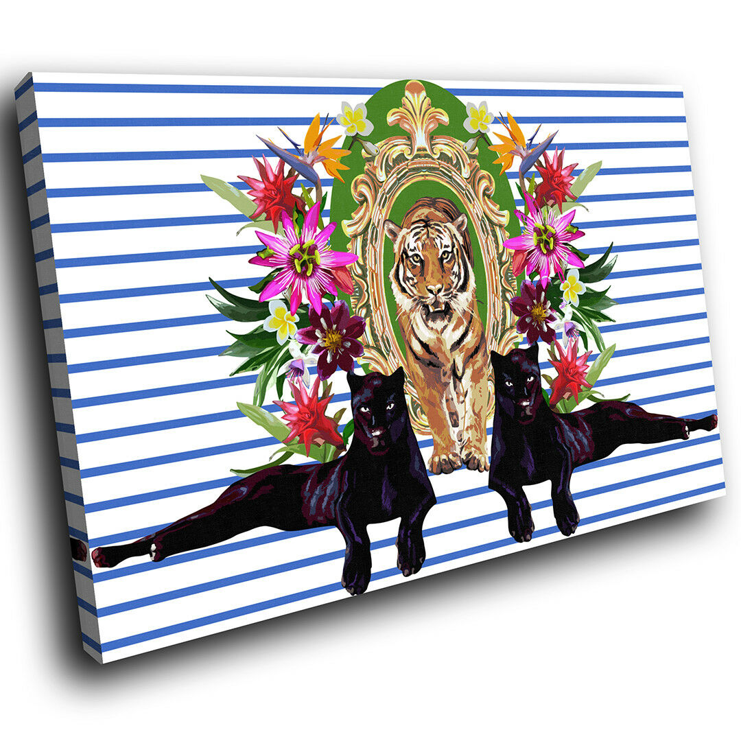 A522 Panther Flower Abstract Funky Animal Canvas Wall Art Large Picture Prints