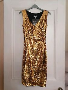59386b96993 Image is loading BNWT-Womens-Gold-Sequin-Dress-From-House-Of-