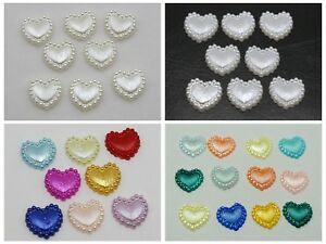Pearl Weihnachtsbeleuchtung.200 Mixed Color Acrylic Half Pearl Heart Flatback Beads 10mm Ribbon