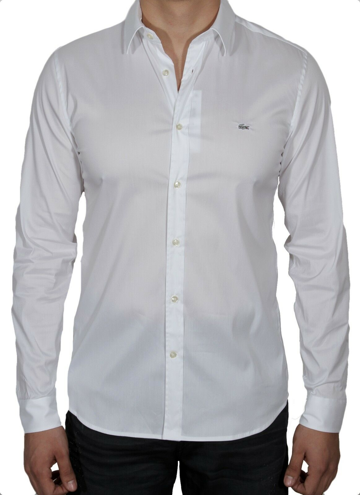 a6fc354b93 Lacoste Men's Slim Fit Stretch Cotton poplin Shirt CH2561-51 001 White