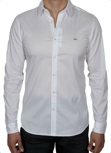 e60d1241bf08 Lacoste Men s Slim Fit Stretch Cotton poplin Shirt CH2561-51 001 White