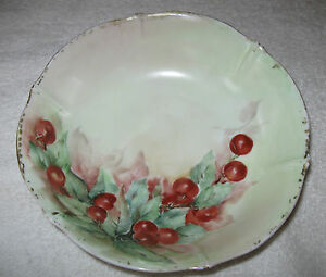 Antique-Vintage-German-Decorative-China-Bowl-Weimar-Porzellan-Circa-1900