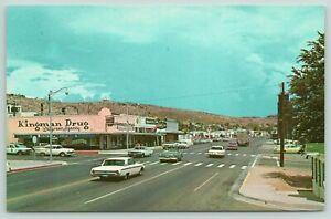 Kingman-Arizona-Andy-Devine-Street-Route-66-Walgreen-Drug-Police-Car-Texaco-1965