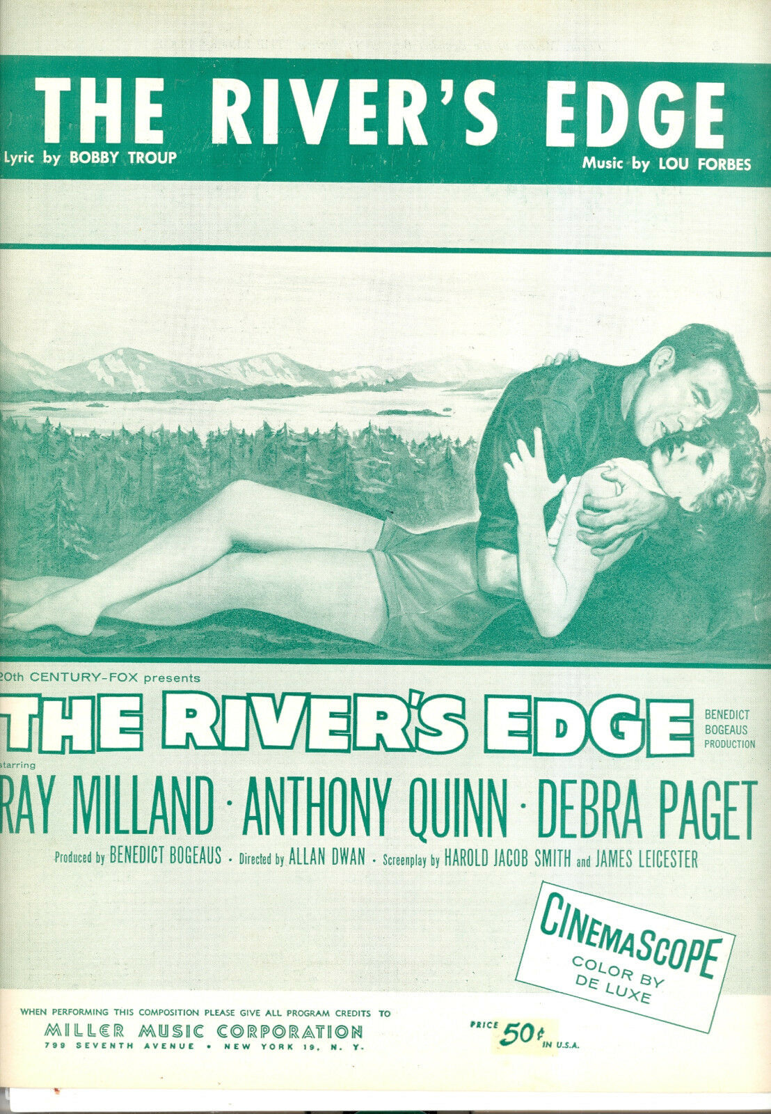 THE RIVER'S EDGE Sheet Music  River's Edge  Debra Paget Anthony Quinn