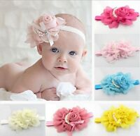 Baby Girl Headband Rose Pearl Ribbon Flower Princess Hairband Top Knot Accessory