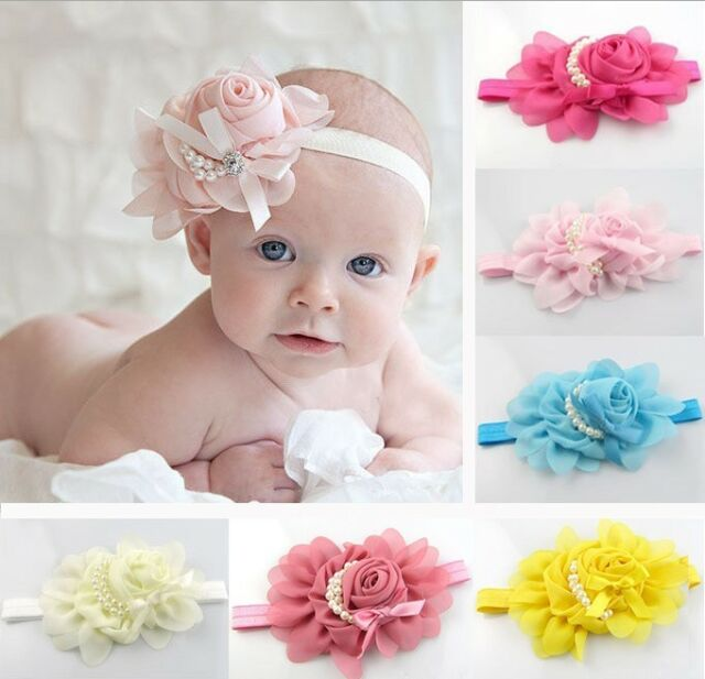 New Hot Baby Headband Rose Pearl Ribbon Flower Princess Hairband Accessories