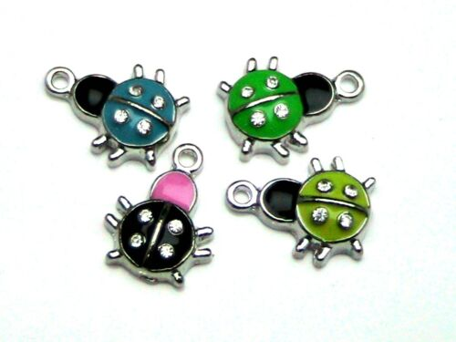 Z115 4 Pcs Mixed Colour Enamel Ladybird Charms Insect Jewellery Craft Kids