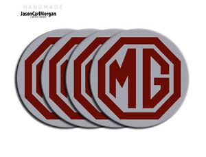 MG-ZT-ZS-ZR-New-Wheel-Centre-Cap-Badges-Burgundy-Silver-80mm-Hub-Badge-Set