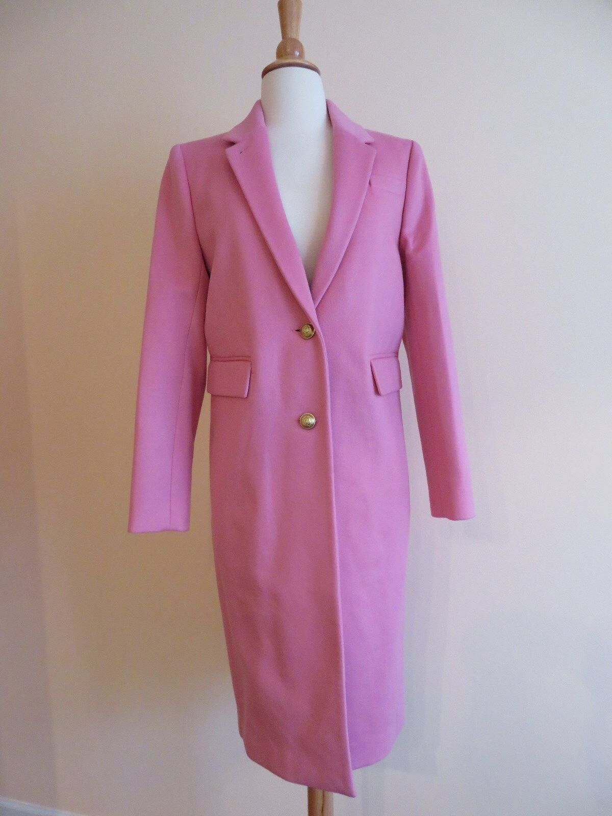 NEW J.CREW COLLECTION OLIVIA TOPCOAT WITH GROSGRAIN RIBBON, F7077, SZ 4 PINK