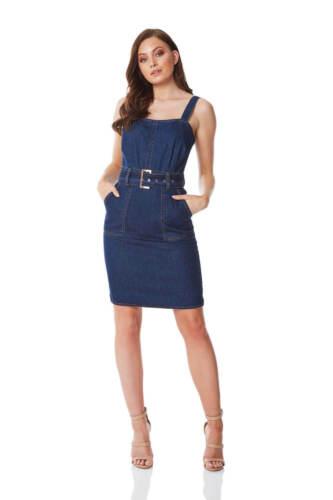 Dress Cotton 100 Roman Belted Women Originals Denim At1gwfYq