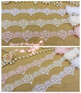 "9/""*1Y Embroidered Floral Tulle Lace Trim~Double Edges~Snow White~Wedding//DIY~"