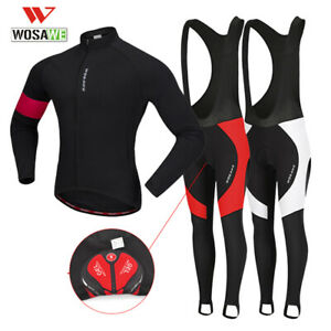 Mens-Cycling-Sets-Thicken-Fleece-Jacket-Bib-Tights-Padded-Winter-Warm-Bike-Gifts