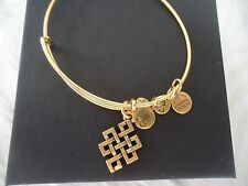 Alex and Ani ENDLESS KNOT Russian Gold Charm Bangle New W/ Tag Card & Box