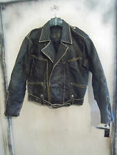 VINTAGE 70'S PANTERA DISTRESSED MILITARY STYLE LEATHER MOTORCYCLE JACKET SIZE M