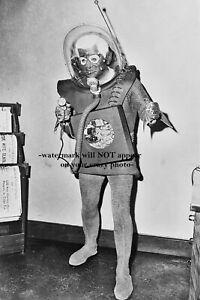 Vintage Scary Martian Man PHOTO Creepy Alien Costume Steampunk Robot UFO Man