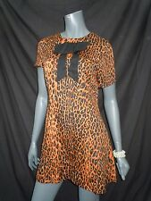 river island vintage vibe leopard print dress uk 12 Mad Men Twiggy 60s Go Go
