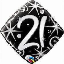 "21ST Happy Birthday Mylar Foil Balloon Party Decoration 18"" Elegant Sparkles"