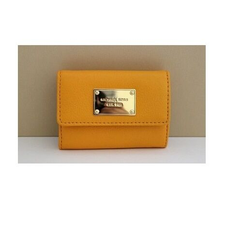 a254d19f5233 Michael Kors Jet Set Item Flap Vintage Yellow Leather Coin Purse Key Ring  Wallet for sale online