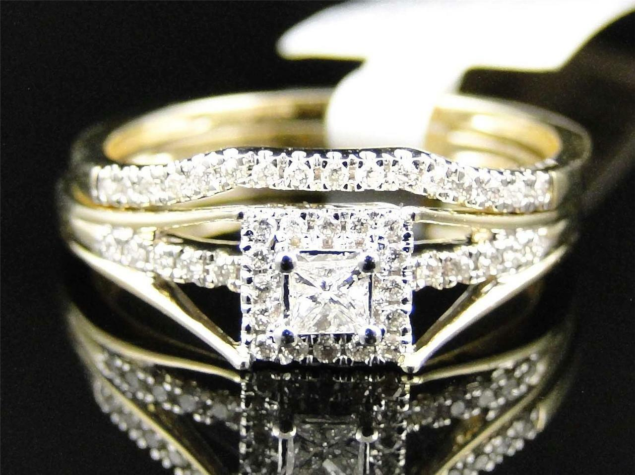 Ladies 10K Yellow gold Solitaire Princess Diamond Engagement Wedding Ring Set