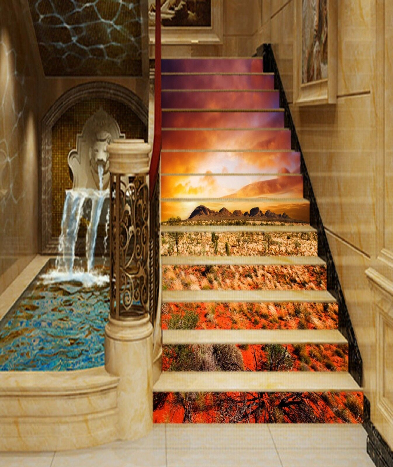 3D Dusk Grassland 8 Stair Risers Decoration Photo Mural Vinyl Decal WandPapier AU