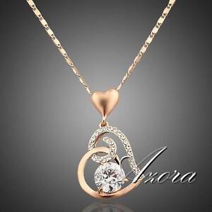 Women-Love-Heart-Chain-Necklace-Crystal-18K-Rose-Gold-Plated-Swarovski-Fashion