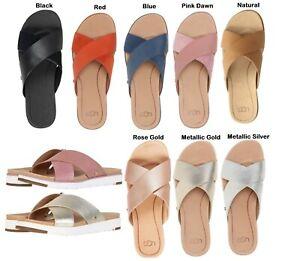 84129015f666 Authentic UGG Brand Women s Kari Cross Strap Sandals Slipper Shoes ...