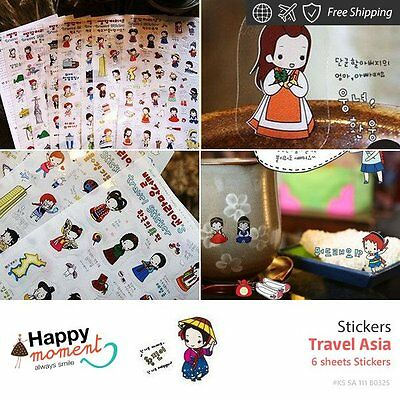 Travel Asia Stickers Diary Planner Scrapbooking Decoration Stickers 6 sheets