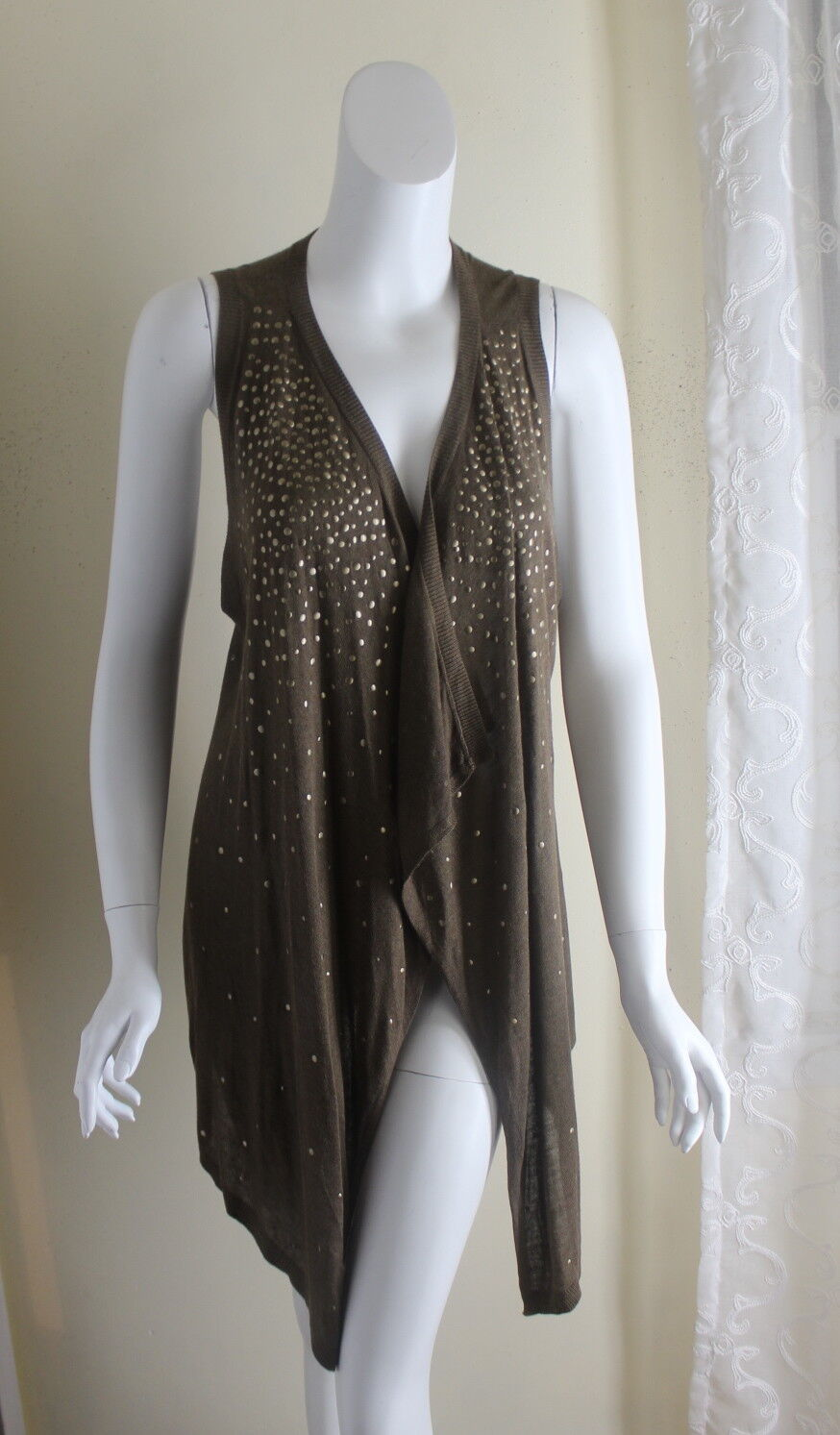 NWT Cache -Sz L Rich Olive Grün Cool Funky Layering Vest Topper Tunic Top