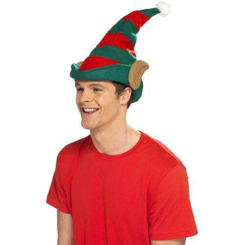 Elf Hat With Ears Red /& Green Santas Helper Fancy Dress Christmas Accessory
