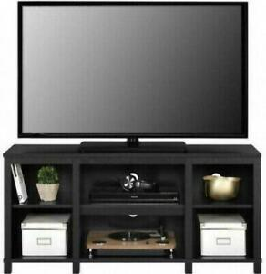 Entertainment Cubby TV Stand Black Oak Wood Finish Furniture up to 50 inch TV