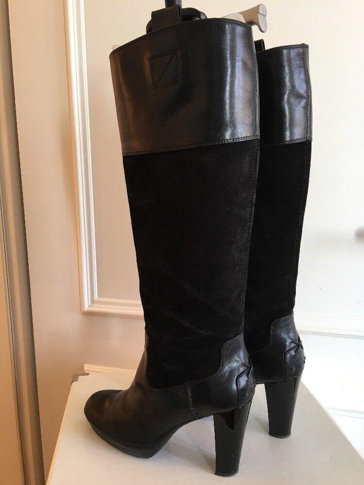TOD'S 38,5 traumhafte schwarze Stiefel, Gr. 38,5 TOD'S aus Wildleder und Glattleder, Noppen 2dba4e