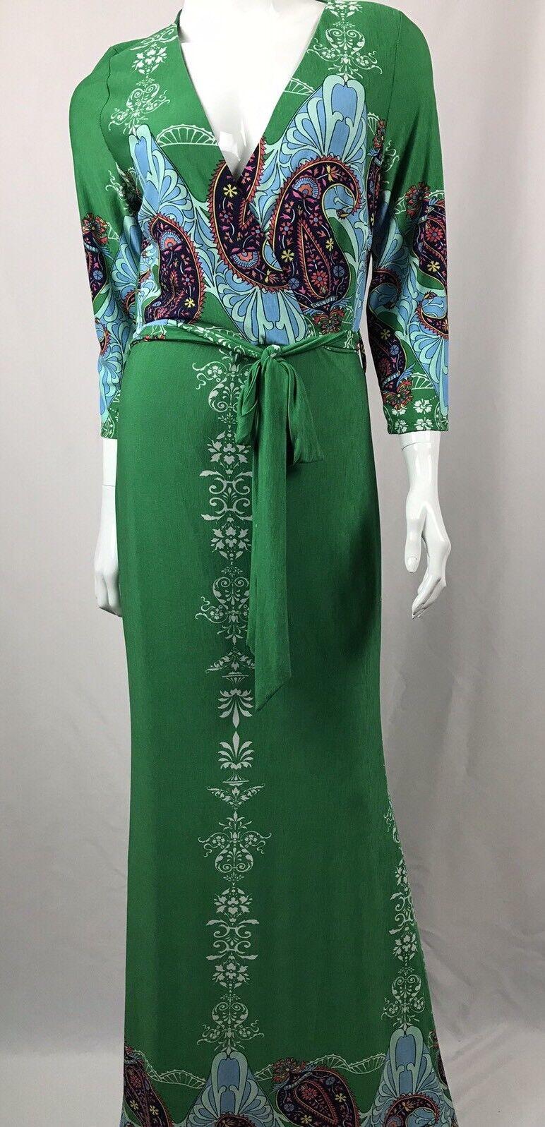 Glamazon Women's Maxi Dress Green Paisley 3 4 Sleeve Tie Waist Sz Medium