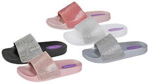0285ca8ecf252e Image is loading Womens-Girls-Diamante-Sliders-Bling-Sandals-Slip-On-