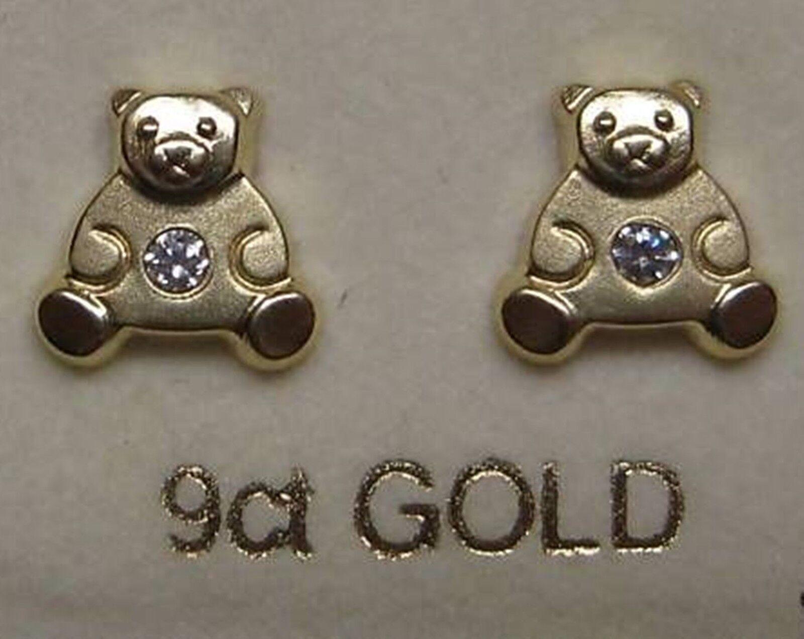 9Ct gold Cubic Zirconia Teddy Bear shaped Stud Earrings