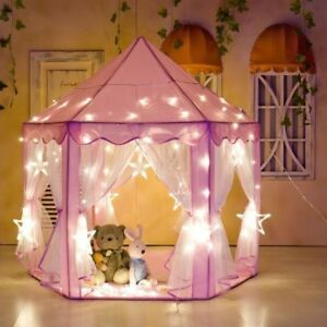 Pink-Princess-Castle-Girls-Kids-Play-Tent-Playhouse-w-Rug-String-Lights-Gift